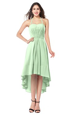 ColsBM Hannah Light Green Casual A-line Halter Half Backless Asymmetric Ruching Plus Size Bridesmaid Dresses