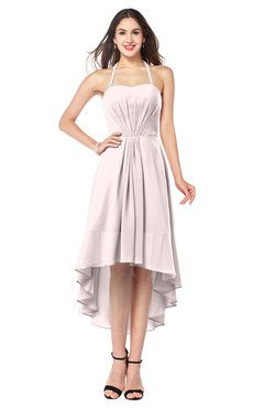 ColsBM Hannah Light Pink Casual A-line Halter Half Backless Asymmetric Ruching Plus Size Bridesmaid Dresses