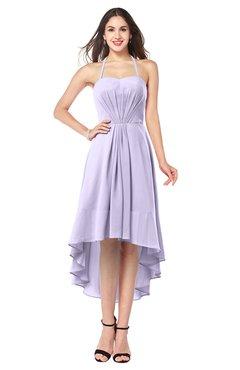 ColsBM Hannah Light Purple Casual A-line Halter Half Backless Asymmetric Ruching Plus Size Bridesmaid Dresses
