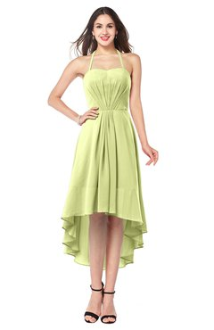 ColsBM Hannah Lime Green Casual A-line Halter Half Backless Asymmetric Ruching Plus Size Bridesmaid Dresses