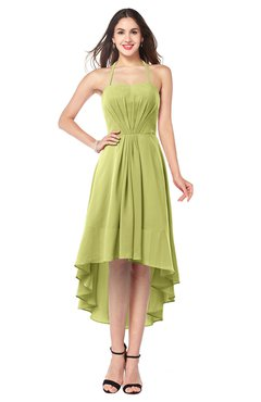 ColsBM Hannah Linden Green Casual A-line Halter Half Backless Asymmetric Ruching Plus Size Bridesmaid Dresses