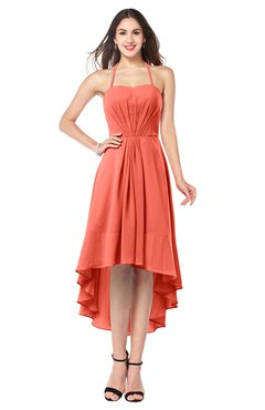 ColsBM Hannah Living Coral Casual A-line Halter Half Backless Asymmetric Ruching Plus Size Bridesmaid Dresses