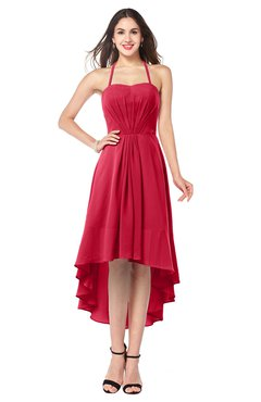 ColsBM Hannah Lollipop Casual A-line Halter Half Backless Asymmetric Ruching Plus Size Bridesmaid Dresses