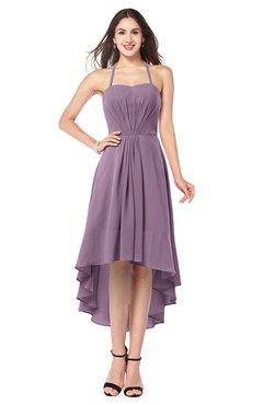 ColsBM Hannah Mauve Casual A-line Halter Half Backless Asymmetric Ruching Plus Size Bridesmaid Dresses