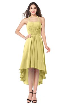 ColsBM Hannah Misted Yellow Casual A-line Halter Half Backless Asymmetric Ruching Plus Size Bridesmaid Dresses