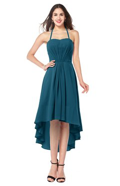 ColsBM Hannah Moroccan Blue Casual A-line Halter Half Backless Asymmetric Ruching Plus Size Bridesmaid Dresses