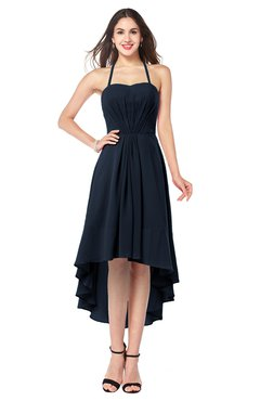 ColsBM Hannah Navy Blue Casual A-line Halter Half Backless Asymmetric Ruching Plus Size Bridesmaid Dresses