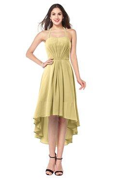 ColsBM Hannah New Wheat Casual A-line Halter Half Backless Asymmetric Ruching Plus Size Bridesmaid Dresses