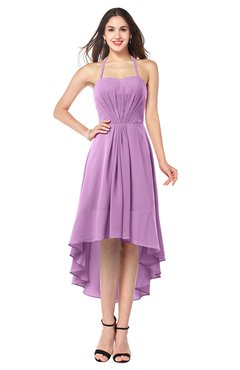 ColsBM Hannah Orchid Casual A-line Halter Half Backless Asymmetric Ruching Plus Size Bridesmaid Dresses
