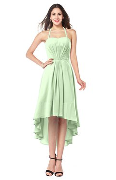 ColsBM Hannah Pale Green Casual A-line Halter Half Backless Asymmetric Ruching Plus Size Bridesmaid Dresses