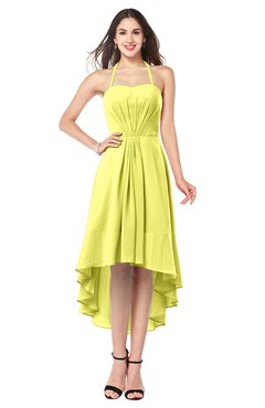 ColsBM Hannah Pale Yellow Casual A-line Halter Half Backless Asymmetric Ruching Plus Size Bridesmaid Dresses