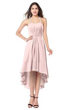 ColsBM Hannah Pastel Pink Casual A-line Halter Half Backless Asymmetric Ruching Plus Size Bridesmaid Dresses