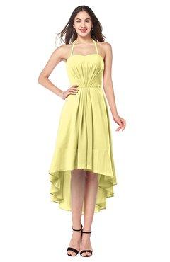 ColsBM Hannah Pastel Yellow Casual A-line Halter Half Backless Asymmetric Ruching Plus Size Bridesmaid Dresses