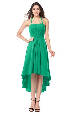 ColsBM Hannah Pepper Green Casual A-line Halter Half Backless Asymmetric Ruching Plus Size Bridesmaid Dresses