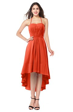 ColsBM Hannah Persimmon Casual A-line Halter Half Backless Asymmetric Ruching Plus Size Bridesmaid Dresses