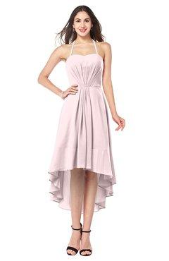 ColsBM Hannah Petal Pink Casual A-line Halter Half Backless Asymmetric Ruching Plus Size Bridesmaid Dresses