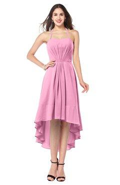 ColsBM Hannah Pink Casual A-line Halter Half Backless Asymmetric Ruching Plus Size Bridesmaid Dresses