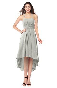 ColsBM Hannah Platinum Casual A-line Halter Half Backless Asymmetric Ruching Plus Size Bridesmaid Dresses
