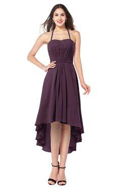 ColsBM Hannah Plum Casual A-line Halter Half Backless Asymmetric Ruching Plus Size Bridesmaid Dresses