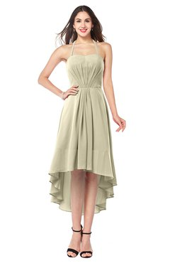 ColsBM Hannah Putty Casual A-line Halter Half Backless Asymmetric Ruching Plus Size Bridesmaid Dresses