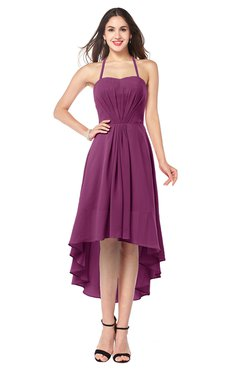 ColsBM Hannah Raspberry Casual A-line Halter Half Backless Asymmetric Ruching Plus Size Bridesmaid Dresses