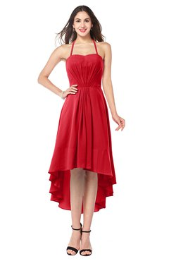 ColsBM Hannah Red Casual A-line Halter Half Backless Asymmetric Ruching Plus Size Bridesmaid Dresses