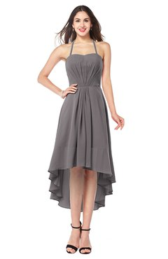 ColsBM Hannah Ridge Grey Casual A-line Halter Half Backless Asymmetric Ruching Plus Size Bridesmaid Dresses
