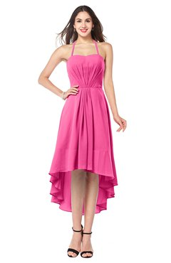 ColsBM Hannah Rose Pink Casual A-line Halter Half Backless Asymmetric Ruching Plus Size Bridesmaid Dresses