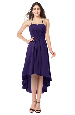 ColsBM Hannah Royal Purple Casual A-line Halter Half Backless Asymmetric Ruching Plus Size Bridesmaid Dresses