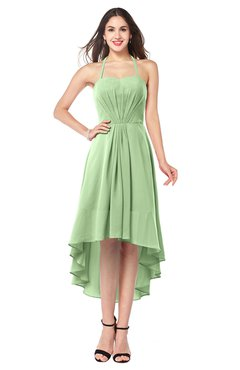 ColsBM Hannah Sage Green Casual A-line Halter Half Backless Asymmetric Ruching Plus Size Bridesmaid Dresses