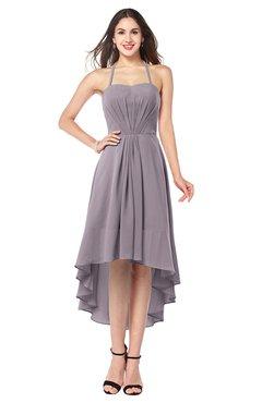 ColsBM Hannah Sea Fog Casual A-line Halter Half Backless Asymmetric Ruching Plus Size Bridesmaid Dresses