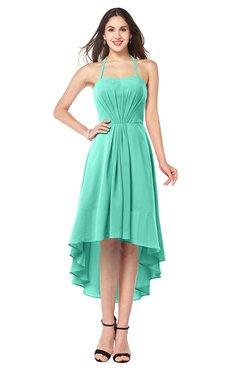 ColsBM Hannah Seafoam Green Casual A-line Halter Half Backless Asymmetric Ruching Plus Size Bridesmaid Dresses