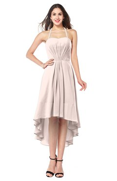 ColsBM Hannah Silver Peony Casual A-line Halter Half Backless Asymmetric Ruching Plus Size Bridesmaid Dresses
