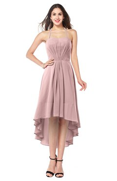 ColsBM Hannah Silver Pink Casual A-line Halter Half Backless Asymmetric Ruching Plus Size Bridesmaid Dresses