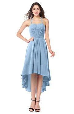 ColsBM Hannah Sky Blue Casual A-line Halter Half Backless Asymmetric Ruching Plus Size Bridesmaid Dresses