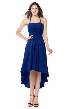 ColsBM Hannah Sodalite Blue Casual A-line Halter Half Backless Asymmetric Ruching Plus Size Bridesmaid Dresses