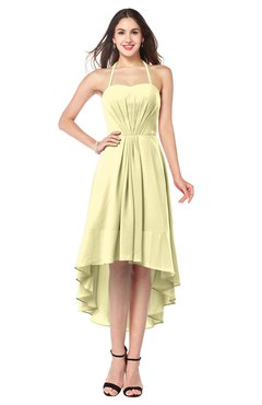 ColsBM Hannah Soft Yellow Casual A-line Halter Half Backless Asymmetric Ruching Plus Size Bridesmaid Dresses