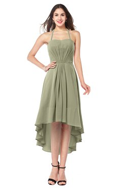ColsBM Hannah Sponge Casual A-line Halter Half Backless Asymmetric Ruching Plus Size Bridesmaid Dresses