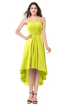 ColsBM Hannah Sulphur Spring Casual A-line Halter Half Backless Asymmetric Ruching Plus Size Bridesmaid Dresses