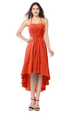 ColsBM Hannah Tangerine Tango Casual A-line Halter Half Backless Asymmetric Ruching Plus Size Bridesmaid Dresses