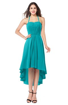 ColsBM Hannah Teal Casual A-line Halter Half Backless Asymmetric Ruching Plus Size Bridesmaid Dresses