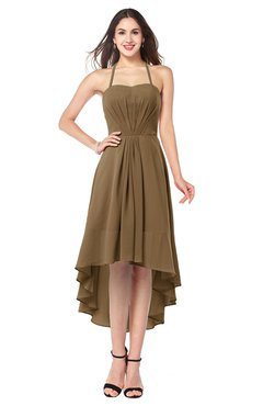 ColsBM Hannah Truffle Casual A-line Halter Half Backless Asymmetric Ruching Plus Size Bridesmaid Dresses