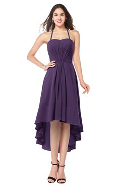 ColsBM Hannah Violet Casual A-line Halter Half Backless Asymmetric Ruching Plus Size Bridesmaid Dresses