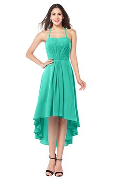 ColsBM Hannah Viridian Green Casual A-line Halter Half Backless Asymmetric Ruching Plus Size Bridesmaid Dresses