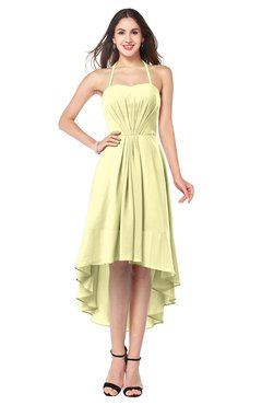 ColsBM Hannah Wax Yellow Casual A-line Halter Half Backless Asymmetric Ruching Plus Size Bridesmaid Dresses