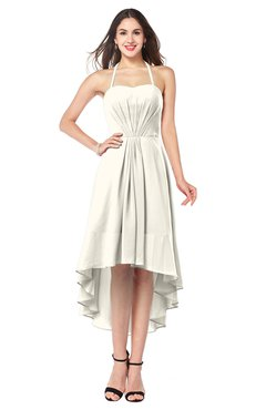 ColsBM Hannah Whisper White Casual A-line Halter Half Backless Asymmetric Ruching Plus Size Bridesmaid Dresses