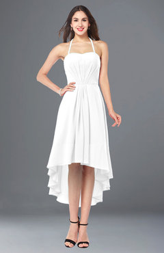 ColsBM Hannah White Casual A-line Halter Half Backless Asymmetric Ruching Plus Size Bridesmaid Dresses