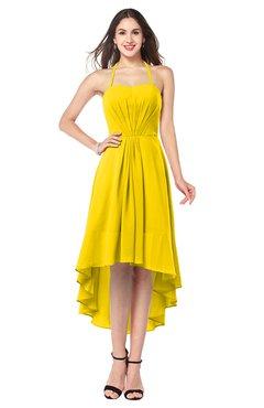 ColsBM Hannah Yellow Casual A-line Halter Half Backless Asymmetric Ruching Plus Size Bridesmaid Dresses