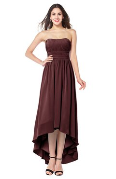 ColsBM Autumn Burgundy Simple A-line Sleeveless Zip up Asymmetric Ruching Plus Size Bridesmaid Dresses