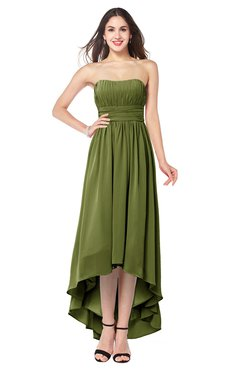 088ef0d047a4e ColsBM Autumn Olive Green Simple A-line Sleeveless Zip up Asymmetric  Ruching Plus Size Bridesmaid